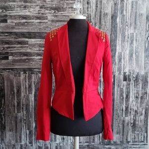Xoxo Red Blazer with Gold Studs juniors size Med